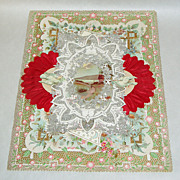"""Antique Victorian 11"""" Silver + Red Paper Lace Valentine Card / Envelope + Stamps"""