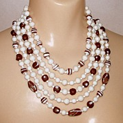 Vintage 1950's Retro Coffee + Cream Glass Beads 5 Tier Strand Necklace