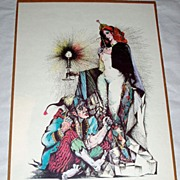 "Vintage 1960's 23"" Lithograph Clown Sculptor / Goddess Woman 115/150 pencil signed"