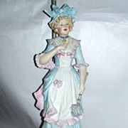 """Vintage 1930's 25"""" Bisque Porcelain Pretty French Parlor Maid Table Lamp"""