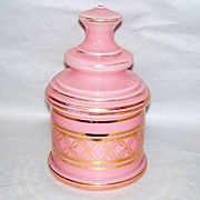 """Beautiful Victorian Era Candy Pink Glass 2 pc. 9"""" Covered Vanity Jar"""