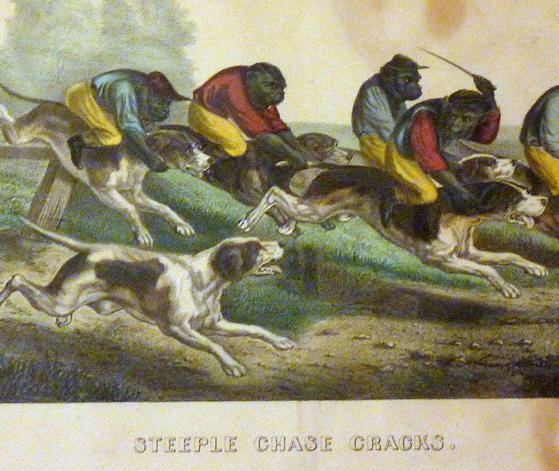Antique Currier & Ives Sporting Print - Steeple Chase Cracks, Monkeys & Dogs