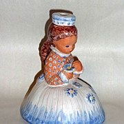 Antique Hungary hand made Glazed Pottery Figural Lamp Base Girl Child