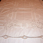 "Vintage Embroidered & Crocheted 84"" X 66"" White Tablecloth"