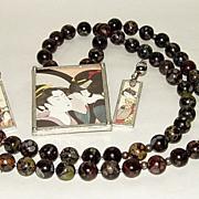 Vintage Japan Geisha Framed Pendant on Jasper Bead Necklace