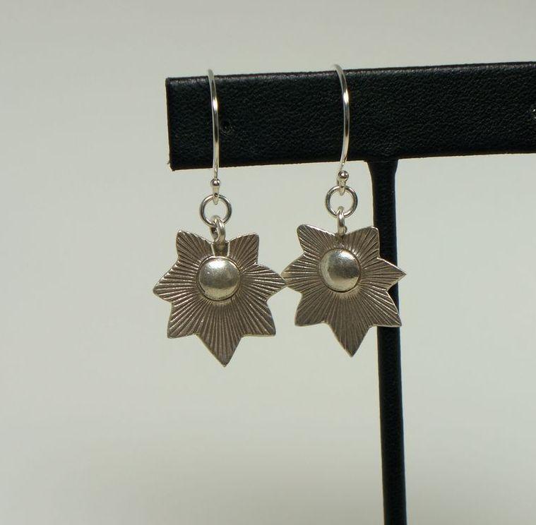 Starburst  Flower Hill Tribe Sterling Silver Dangle Earrings