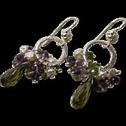 Cubic Zirconia Peridot Vesuvianite Amethyst Cultured Pearl Earrings