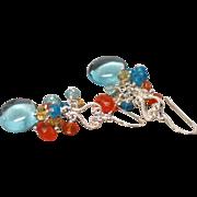 Sky Blue Hydrothermal Quartz, Zircon, Apatite, Citrine Sterling Earrings