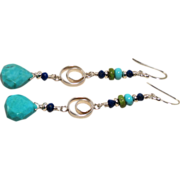 Sleeping Beauty Turquoise, Gaspeite, Lapis Sterling Silver Earrings
