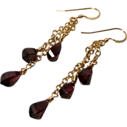 Red Garnet Gold-Fill Cascade Chain Earrings