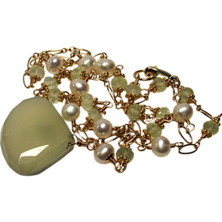 Chalcedony Prehnite Cultured Pearl Hand Linked Pendant Necklace