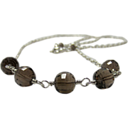Smoky Quartz Step-Cut Sterling Silver Chain Necklace