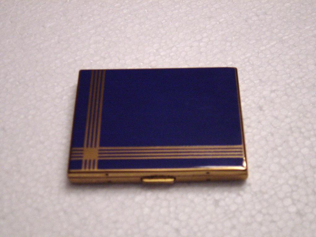 Beautiful Elgin American Cobalt Blue Enameled Double Compact