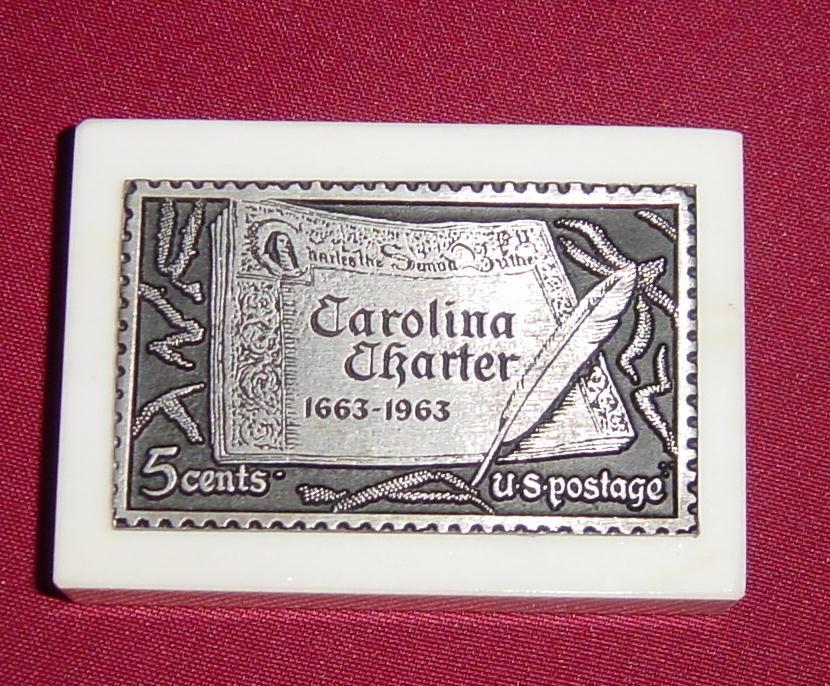Carolina Charter Stamp in Pewter on Marble Base Paperweight