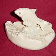 Irish Belleek Porcelain Fish Jumping Out of the Waves