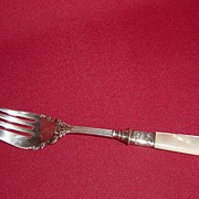 Beautiful Silver Cold Meat Fork with Sterling Ferrule and MOP Handle