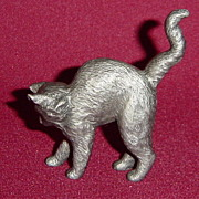 American Pewter Curio Cabinet Cat by Franklin Mint