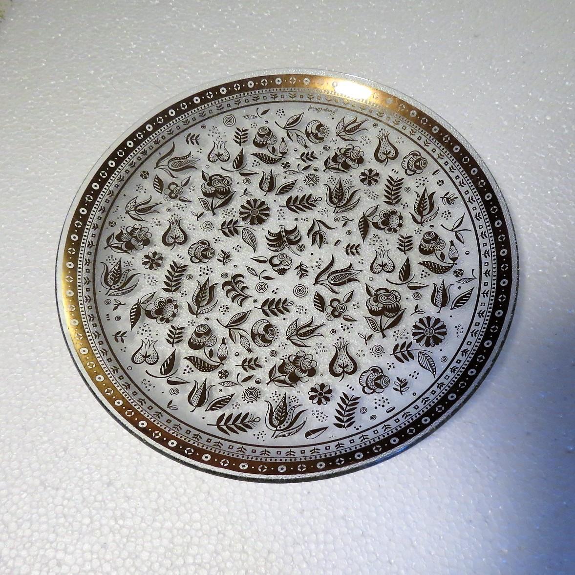 Georges Briard Persian Garden Round Bent Glass Platter
