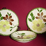 Southern Potteries Blue Ridge Green Briar Berry Bowls, Bread Plate and Saucer