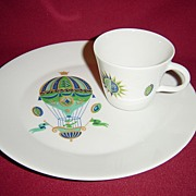 Georges Briard Porcelain Fancy Free Snack Set with Lady in Green