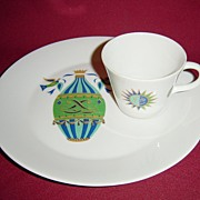 Georges Briard Porcelain Fancy Free Snack Set with Birds