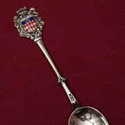 Silverplated Souvenir Spoon with Enameled Coat of Arms for Monte Carlo