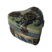 SALE 19th Century Chinese Porcelain and Silver Heart Shaped Trinket Box