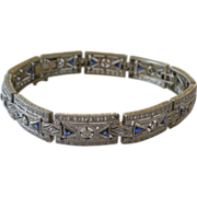 Superior Deco 20Kt White Gold Filigree Line Bracelet with Diamonds Professional Appraisal Included