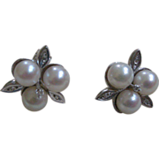 PRICE REDUCTION! Vintage Cultured Pearl and Diamond Flower Earrings 14K White Gold