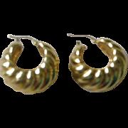 Contemporary 18K Yellow Gold Wide Hoop Earrings