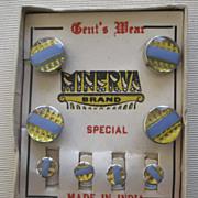 Minerva Gent's Wear Cuff Button & Stud Set Deco Mirror Glass Never Worn On Original Card