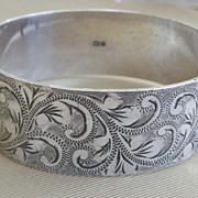 30% OFF SALE Wide Engraved Sterling Silver Bangle Bracelet English Hallmark