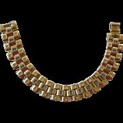 Retro Gold Tone Chunky Link Bracelet with Faux Diamonds & Faux Sapphires