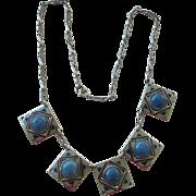 Exciting Art Deco Necklace Blue/Black Enamel + Faux Lapis Fringe