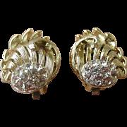 Bold Mid-Century Vintage Earrings Gold Tone & Rhinestones Clip On by Lisner