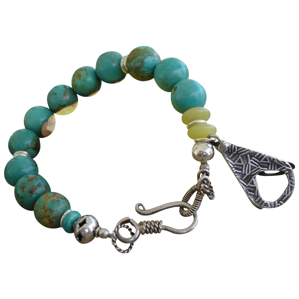Turquoise Beaded Bracelet with Handcrafted Fine Silver Charm