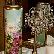 HUGE Limoges P.H. Leonard Vase with Stunning Roses and Heavy Gold Trim
