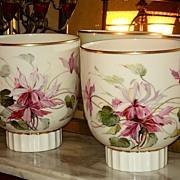 Lenox Belleek Pair HP Cache Pots/Vases/Planters Signed J. Nosek