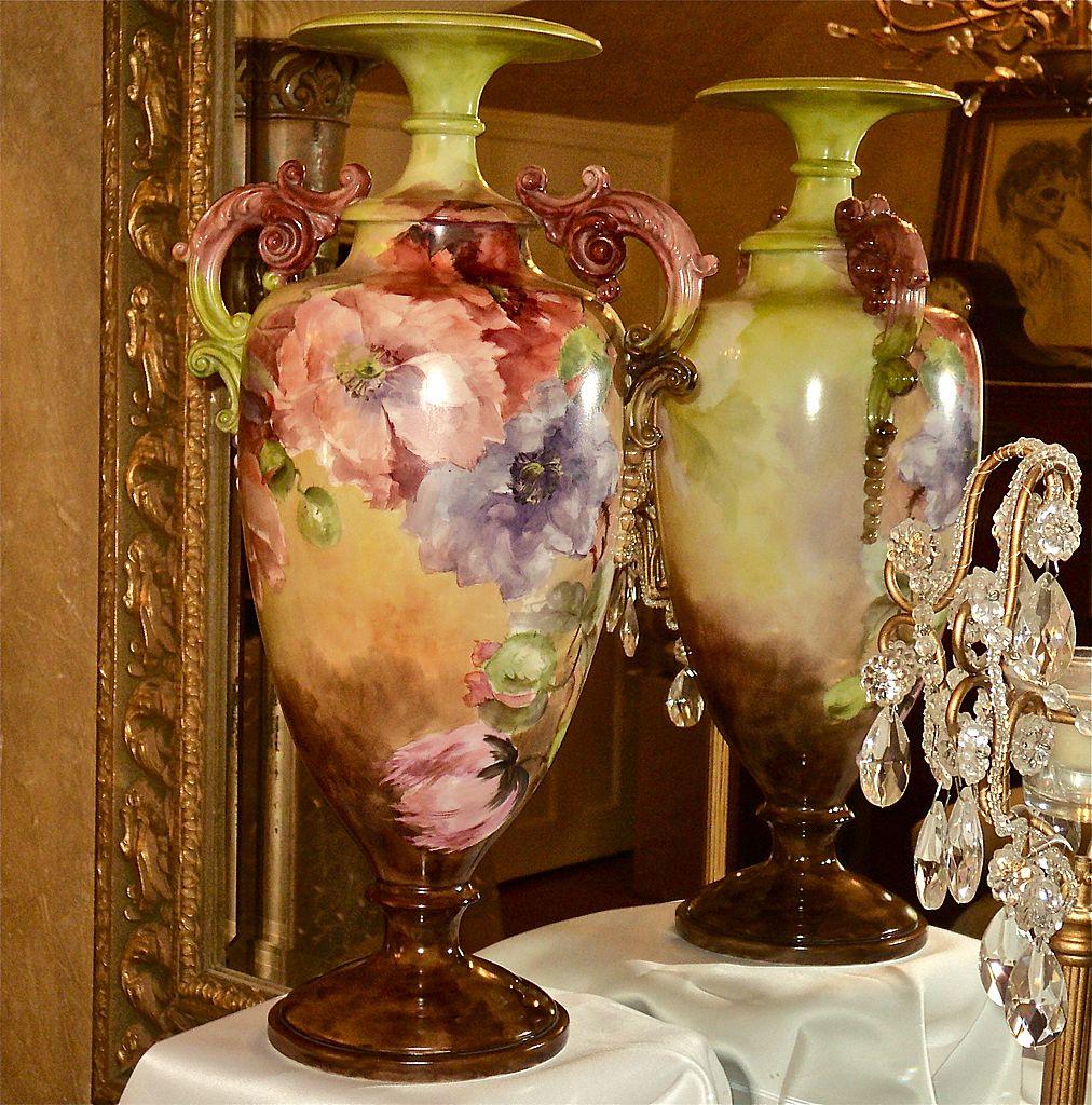 Belleek Ornate Handled Vase Orange/Purple/White Poppies