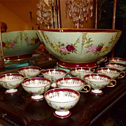 Limoges Punch Bowl and Twelve Cups Decorated with Garlands of Pink/Red/Yellow Roses and Gold Accents