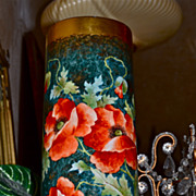 "Limoges Huge 15"" Vase With Vibrant Orange Poppies"