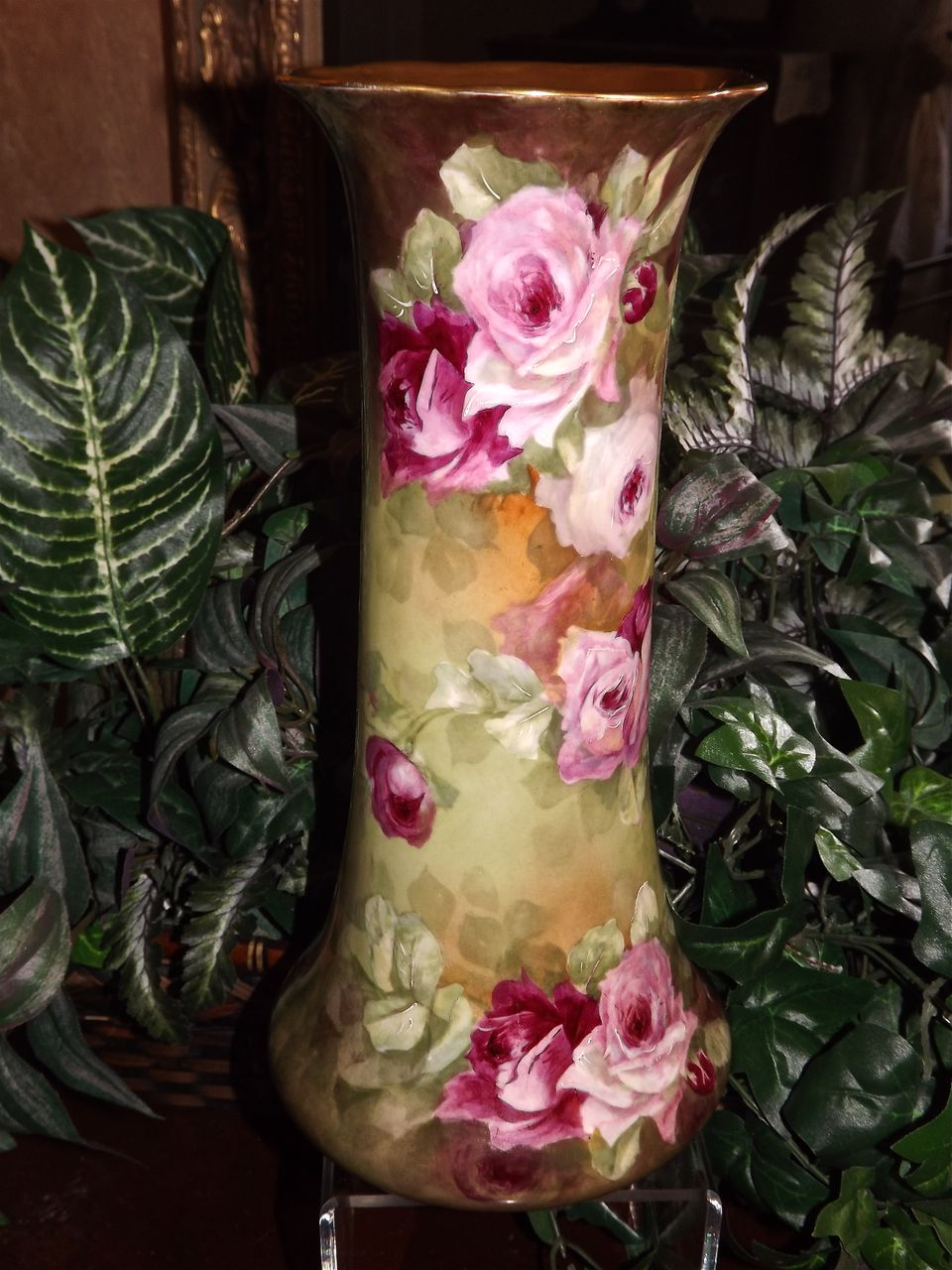 Limoges Huge Signed Trumpet Vase with Pink/Red/White Roses and Gold Encrusted Mouth
