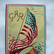 GAR Patriotic Postcard With Flag And Drum