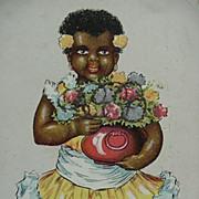 Black Americana Best Birthday Wishes Postcard Girl Holding Flowers