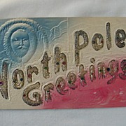 Christmas North Pole Greetings Postcard With Man's Face Flag And Bear