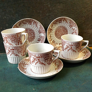 Set 4 English Brown Aesthetic Transferware Cups and Saucers 1888