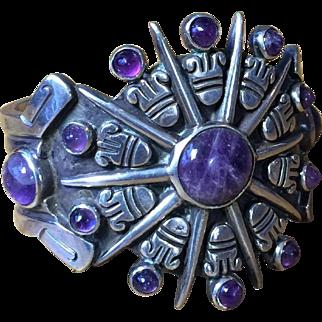 Signed William Spratling Amethyst Aztec Sun Cuff Bracelet ca. 1940 Heavy Sterling Silver