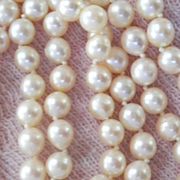 Beautiful 14K Gold Cultured Pearl Double Strand Necklace