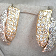 Final Markdown! Dazzling 14K Two-toned 1.50 Diamond Vintage Earrings
