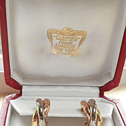 Elegant CARTIER 18K Tri-Gold Trinity Hoop Earrings
